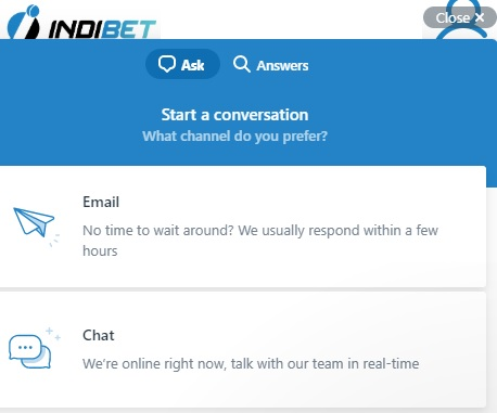 Indibet customer support