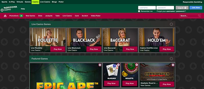 Paddy Power Casino game
