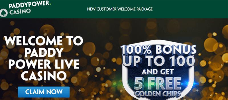 Paddy Power Casino welcome bonus